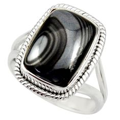 8.03cts natural black psilomelane 925 silver solitaire ring size 8.5 d35896