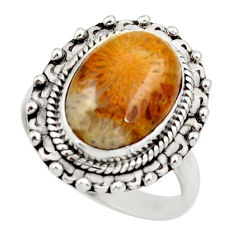 6.58cts natural fossil coral petoskey stone silver solitaire ring size 8 d35903