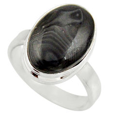 8.83cts natural black psilomelane oval 925 silver solitaire ring size 8 d35905