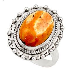 Natural fossil coral petoskey stone 925 silver solitaire ring size 7 d35906