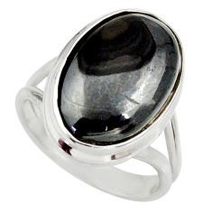 925 silver 11.37cts natural black psilomelane solitaire ring size 6.5 d35915