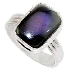 Clearance Sale- 6.31cts natural black obsidian eye 925 silver solitaire ring size 8 d35920