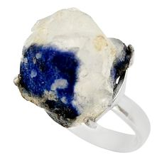 Clearance Sale- 20.51cts natural blue dumortierite 925 silver solitaire ring size 7 d35921
