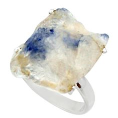 Clearance Sale- 15.24cts natural blue dumortierite 925 silver solitaire ring size 7.5 d35922