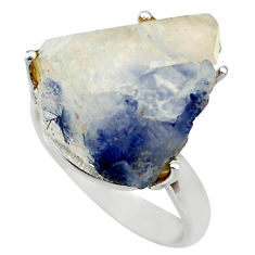 Clearance Sale- 925 silver 18.60cts natural blue dumortierite fancy solitaire ring size 7 d35924