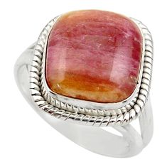 8.14cts natural pink bio tourmaline 925 silver solitaire ring size 8 d35925