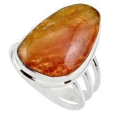 Clearance Sale- 13.77cts natural pink bio tourmaline 925 silver solitaire ring size 8 d35926