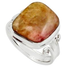 Clearance Sale- 13.87cts natural pink bio tourmaline 925 silver solitaire ring size 9 d35927