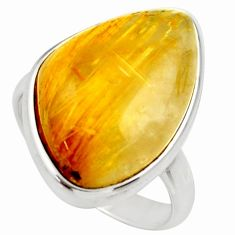 Clearance Sale- 17.64cts natural golden tourmaline rutile silver solitaire ring size 9 d35929