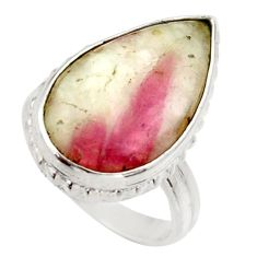 Clearance Sale- 11.23cts natural tourmaline in quartz 925 silver solitaire ring size 6 d35935