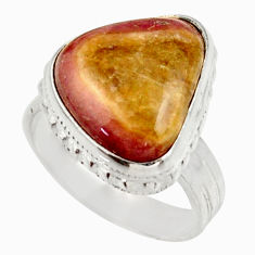 Clearance Sale- 10.37cts natural pink bio tourmaline 925 silver solitaire ring size 7 d35937