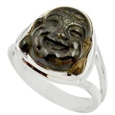 7.00cts natural black onyx 925 silver buddha meditation ring size 7.5 d35942