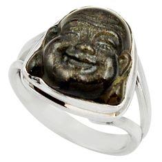 7.30cts natural black onyx 925 silver buddha meditation ring size 7 d35943
