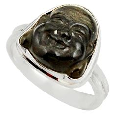 Clearance Sale- 7.04cts natural black onyx 925 silver buddha meditation ring size 8 d35944