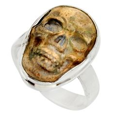 925 silver 9.25cts natural brown picture jasper skull charm ring size 6.5 d35946