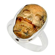 Clearance Sale- 8.32cts natural brown picture jasper 925 silver skull charm ring size 7.5 d35947