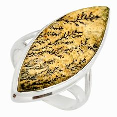 Clearance Sale- 14.23cts natural germany psilomelane dendrite 925 silver ring size 7 d35951