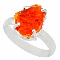 5.24cts natural orange mexican fire opal fancy 925 silver ring size 9 d35958