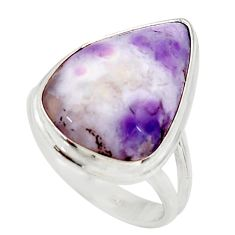 Clearance Sale- 13.70cts natural purple opal 925 sterling silver solitaire ring size 7.5 d35963