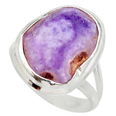 Clearance Sale- 12.02cts natural purple opal 925 sterling silver solitaire ring size 8.5 d35969