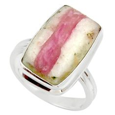 Clearance Sale- 8.42cts natural pink tourmaline in quartz silver solitaire ring size 7 d35971