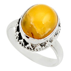 Clearance Sale- 925 silver 4.43cts natural yellow amber bone solitaire ring size 6.5 d35972