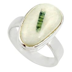 Clearance Sale- 6.67cts natural tourmaline in quartz 925 silver solitaire ring size 7.5 d35980