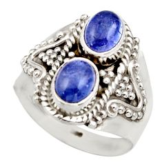 Clearance Sale- 3.41cts natural blue tanzanite 925 sterling silver ring jewelry size 7.5 d35982