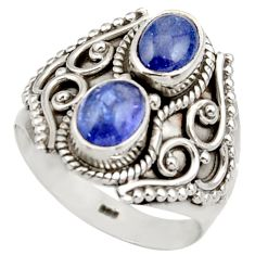 3.28cts natural blue tanzanite 925 sterling silver ring jewelry size 7.5 d35988