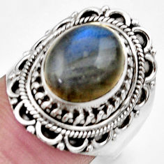 ts natural blue labradorite oval solitaire ring size 7.5 d36004