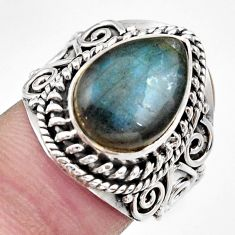 Clearance Sale- 6.96cts natural blue labradorite 925 silver solitaire ring size 6.5 d36006