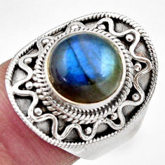 Clearance Sale- 5.90cts natural blue labradorite 925 silver solitaire ring jewelry size 7 d36007