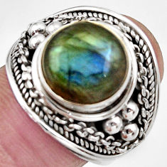 Clearance Sale- 5.20cts natural blue labradorite 925 silver solitaire ring jewelry size 9 d36009