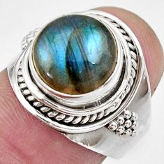 Clearance Sale- 5.51cts natural blue labradorite 925 silver solitaire ring jewelry size 7 d36010