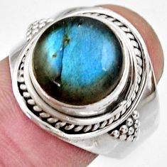 Clearance Sale- 6.83cts natural blue labradorite 925 silver solitaire ring jewelry size 9 d36011
