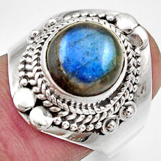 Clearance Sale- 6.08cts natural blue labradorite 925 silver solitaire ring size 8.5 d36014