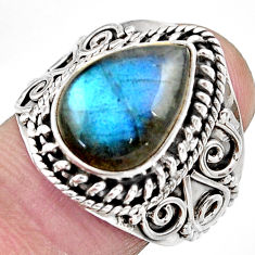 Clearance Sale- 6.93cts natural blue labradorite 925 silver solitaire ring jewelry size 8 d36016