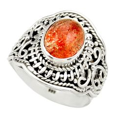 Clearance Sale- 4.67cts natural orange sunstone 925 silver solitaire ring size 7.5 d36022