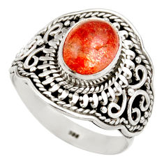 Clearance Sale- 4.71cts natural orange sunstone 925 silver solitaire ring size 8.5 d36023