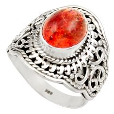Clearance Sale- 925 silver 4.70cts natural orange sunstone solitaire ring size 6.5 d36024