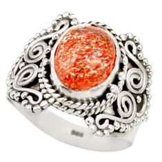 Clearance Sale- 4.17cts natural orange sunstone 925 silver solitaire ring size 7 d36025