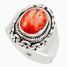 Clearance Sale- 4.74cts natural orange sunstone 925 silver solitaire ring size 8 d36026