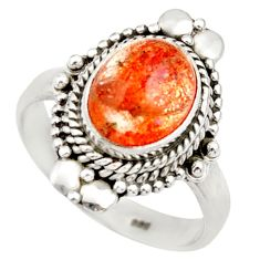 Clearance Sale- 925 silver 4.37cts natural orange sunstone oval solitaire ring size 7.5 d36027