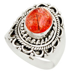 Clearance Sale- 4.38cts natural orange sunstone 925 silver solitaire ring size 7 d36028