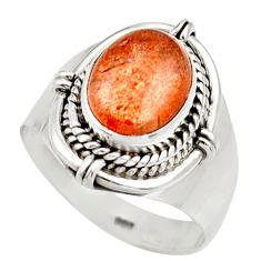 Clearance Sale- 4.02cts natural orange sunstone 925 silver solitaire ring size 7 d36029