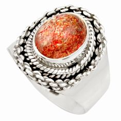 4.46cts natural orange sunstone 925 silver solitaire ring size 6.5 d36030