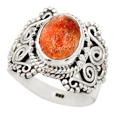 Clearance Sale- 925 silver 4.20cts natural orange sunstone oval solitaire ring size 7 d36031