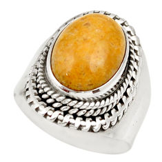 925 silver natural fossil coral petoskey stone solitaire ring size 7.5 d36034