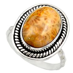 Natural fossil coral petoskey stone 925 silver solitaire ring size 7 d36035