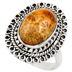 Natural fossil coral petoskey stone 925 silver solitaire ring size 8.5 d36036